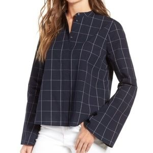 Madewell Bell Sleeve Window Pane Top Blouse